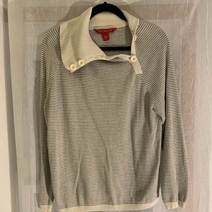 Striped Buttoned Turtleneck Sweater -Size XL